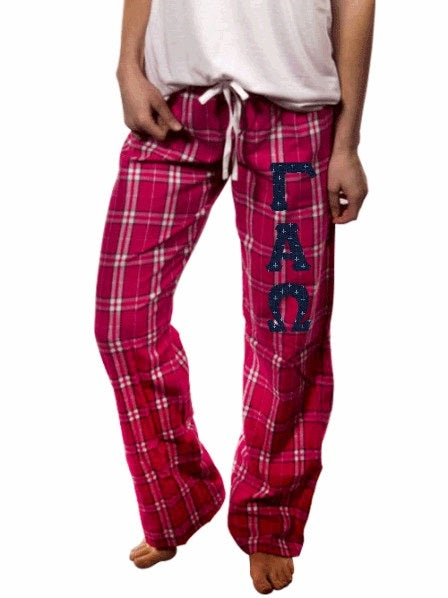 Gamma Alpha Omega Pajama Pants with Sewn-On Letters