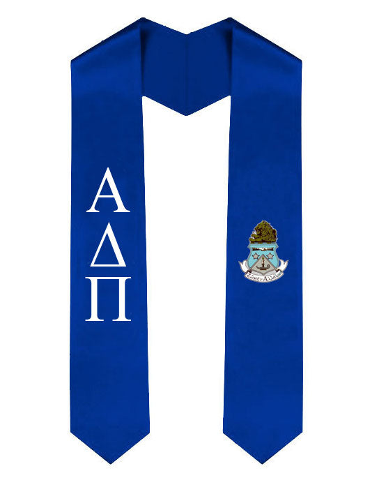 Alpha Delta Pi Lettered Graduation Sash Stole with Crest