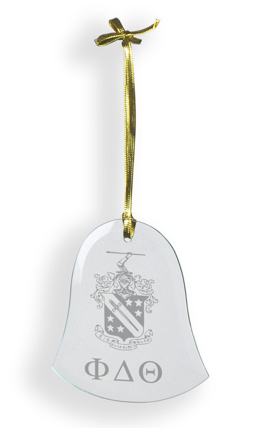 Phi Delta Theta Glass Bell Ornament