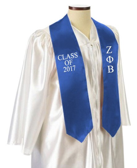 Zeta Phi Beta Classic Colors Embroidered Grad Stole