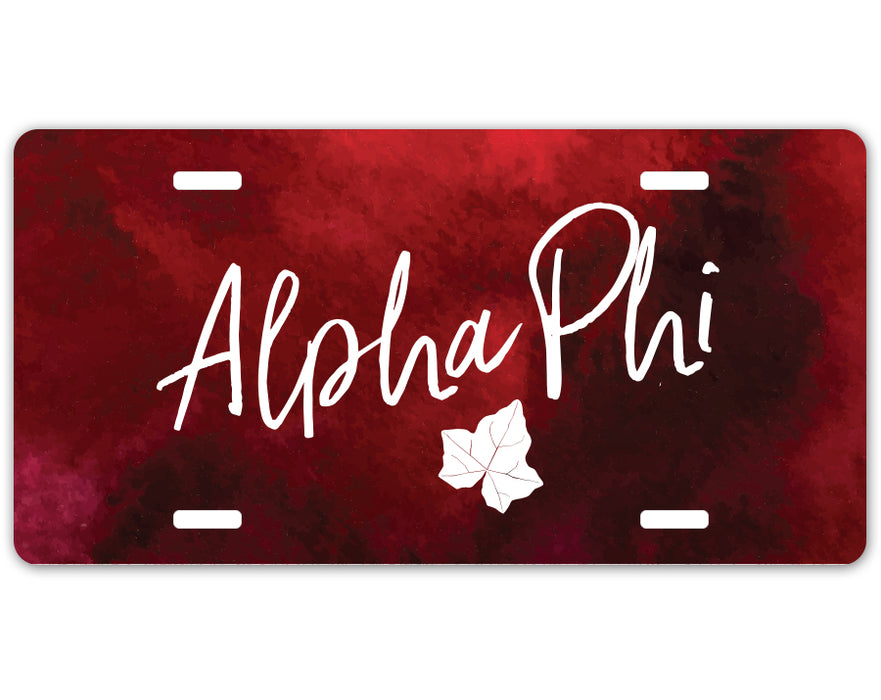Alpha Phi Script License Plate Cover