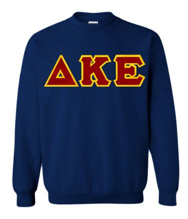 Delta Kappa Epsilon Crewneck Sweatshirt with Sewn-On Letters