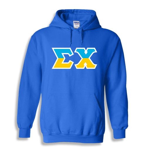 Sigma Chi Two Toned Lettered Hooded Sweatshirt