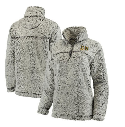 Sigma Nu Embroidered Sherpa Quarter Zip Pullover