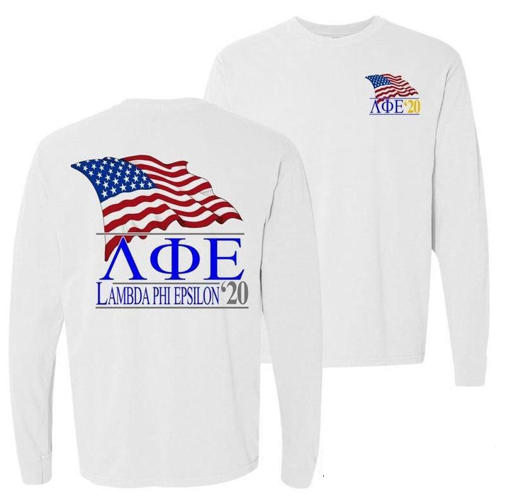 Lambda Phi Epsilon Patriot Flag Comfort Colors Long Tee