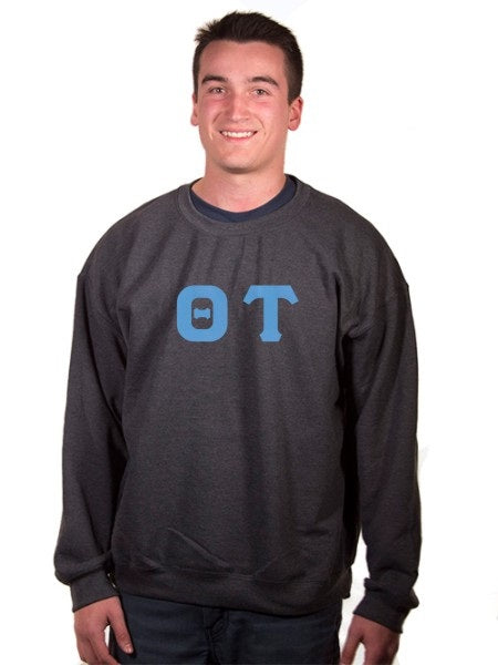 Theta Tau Crewneck Sweatshirt with Sewn-On Letters