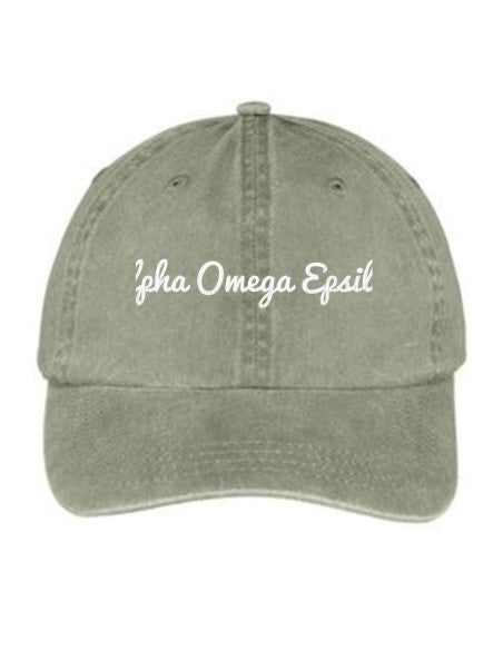 Alpha Omega Epsilon Nickname Embroidered Hat