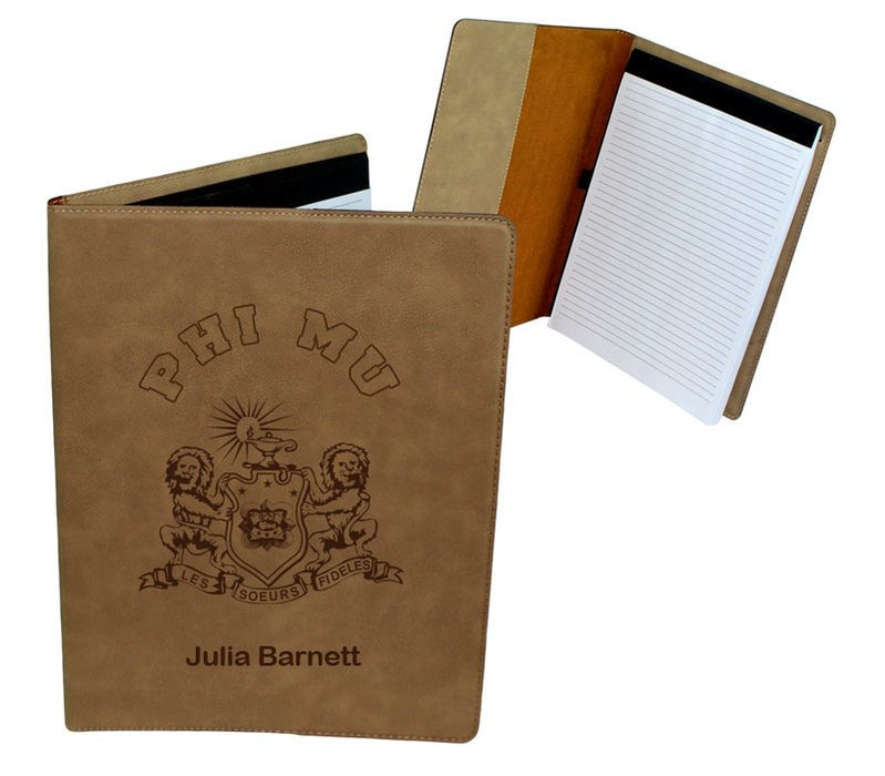Phi Mu Leatherette Portfolio with Notepad