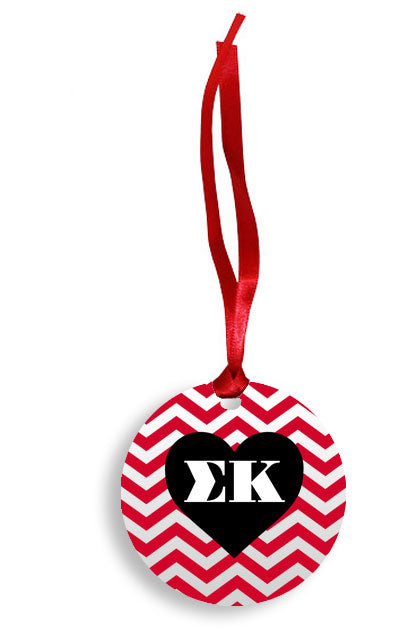 Sigma Kappa Red Chevron Heart Sunburst Ornament