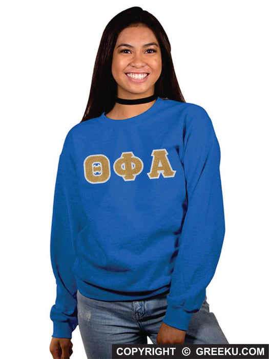 Theta Phi Alpha Classic Colors Sewn-On Letter Crewneck