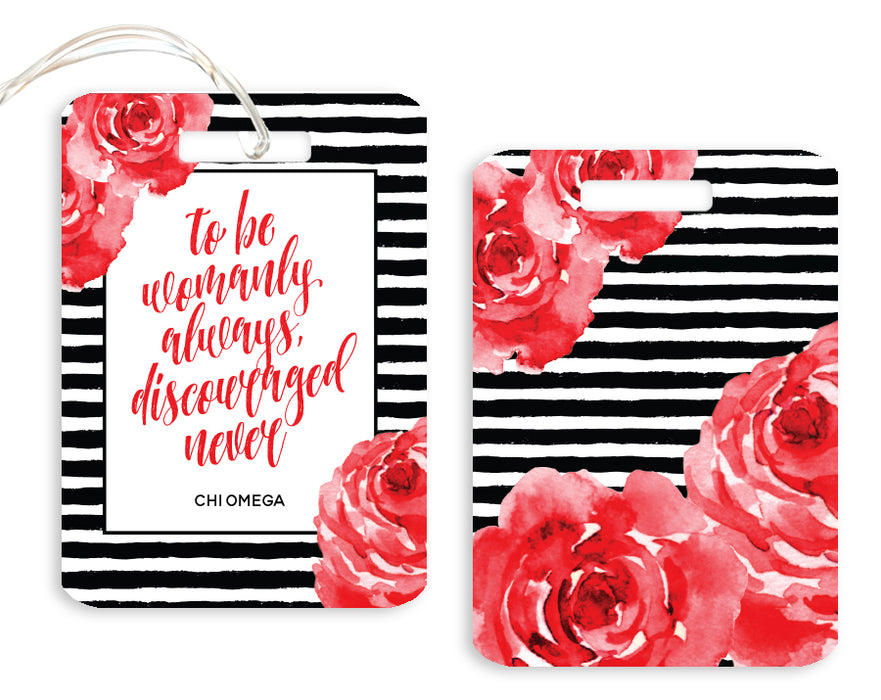 Chi Omega Floral Motto Luggage Tag