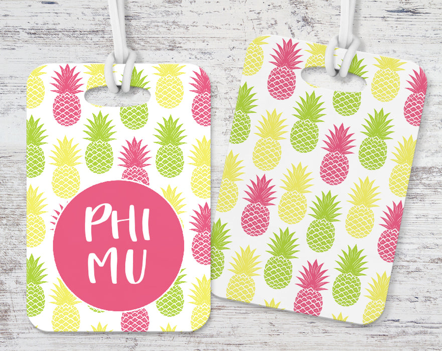 Phi Mu Pineapple Luggage Tag