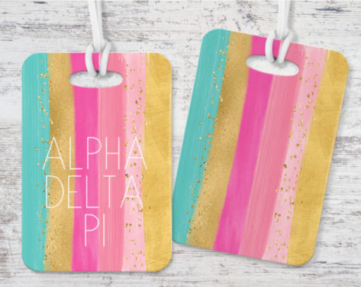 Alpha Delta Pi Bright Stripes Luggage Tag