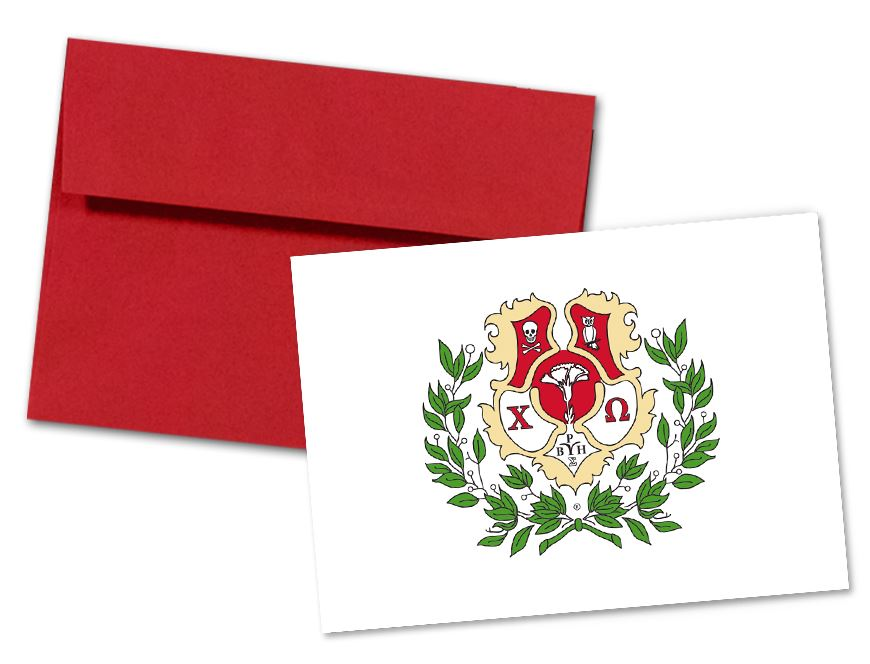 Chi Omega Sorority Crest Note Cards