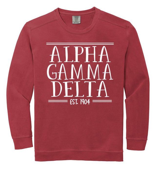 Alpha Gamma Delta Comfort Colors Custom Sorority Sweatshirt