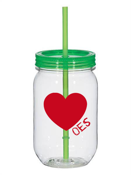 Order Of Eastern Star 25oz Scribbled Heart Mason Jar