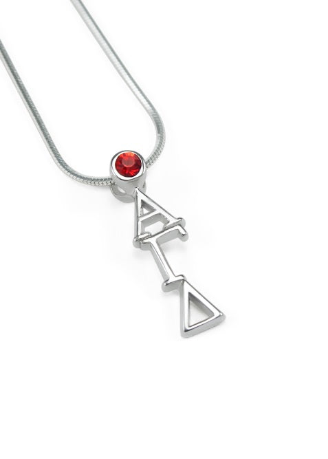 Alpha Gamma Delta Sterling Silver Lavaliere Pendant with Swarovski Crystal