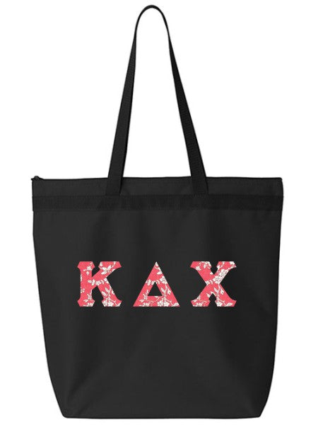 Kappa Delta Chi Large Zippered Tote Bag with Sewn-On Letters