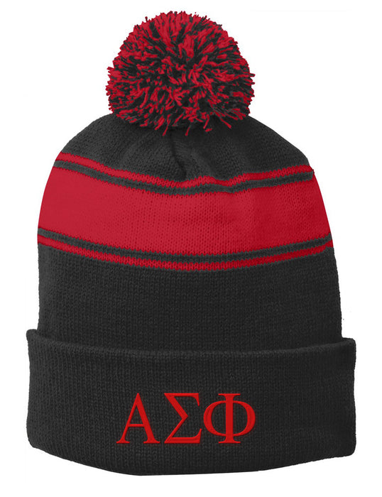 Alpha Sigma Phi Embroidered Pom Pom Beanie