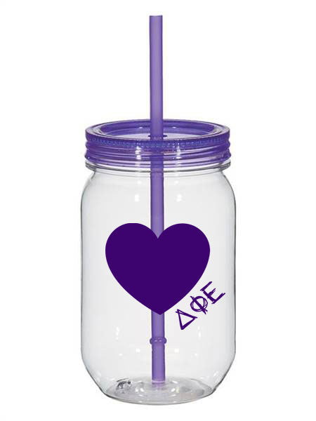Delta Phi Epsilon 25oz Scribbled Heart Mason Jar