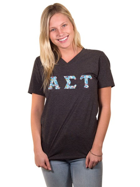 Alpha Sigma Tau Unisex V-Neck T-Shirt with Sewn-On Letters