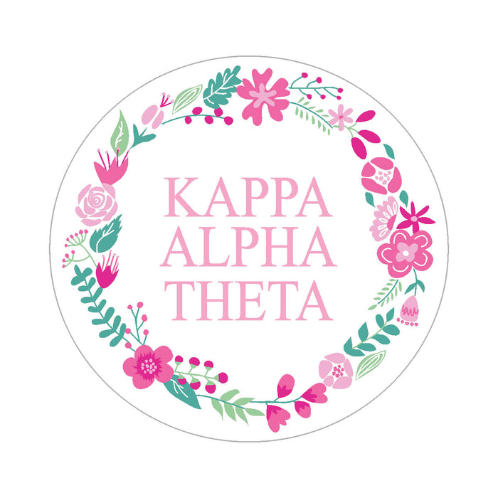 Kappa Alpha Theta Floral Wreath Sticker