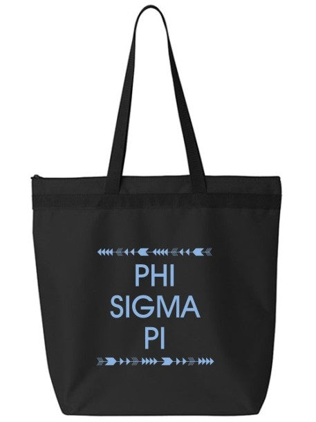 Phi Sigma Pi Arrow Top Bottom Tote Bag