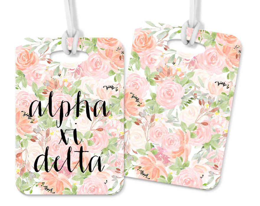 Alpha Xi Delta Pink Floral Luggage Tag