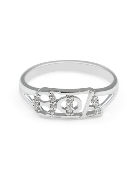 Theta Phi Alpha Sterling Silver Ring with Lab Created Clear Diamond