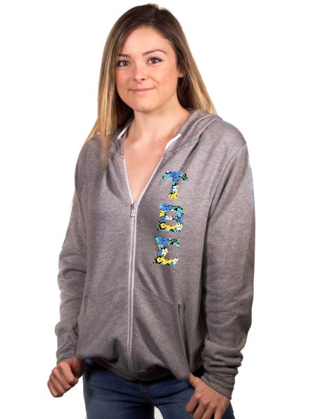 Tau Beta Sigma Unisex Full-Zip Hoodie with Sewn-On Letters