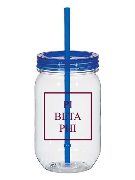 Pi Beta Phi Box Stacked 25oz Mason Jar