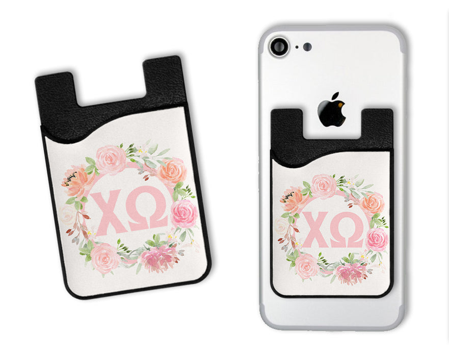 Chi Omega Floral Monogram Caddy Phone Wallet