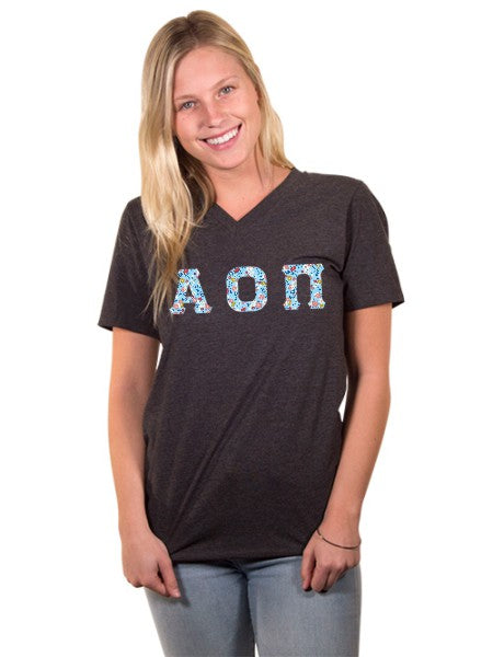 Alpha Omicron Pi Unisex V-Neck T-Shirt with Sewn-On Letters