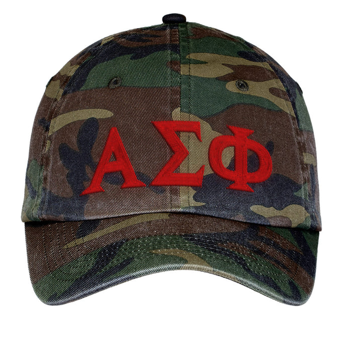Alpha Sigma Phi Letters Embroidered Camouflage Hat