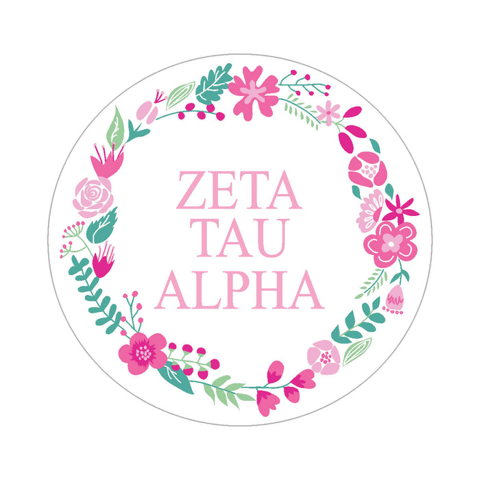 Zeta Tau Alpha Floral Wreath Sticker