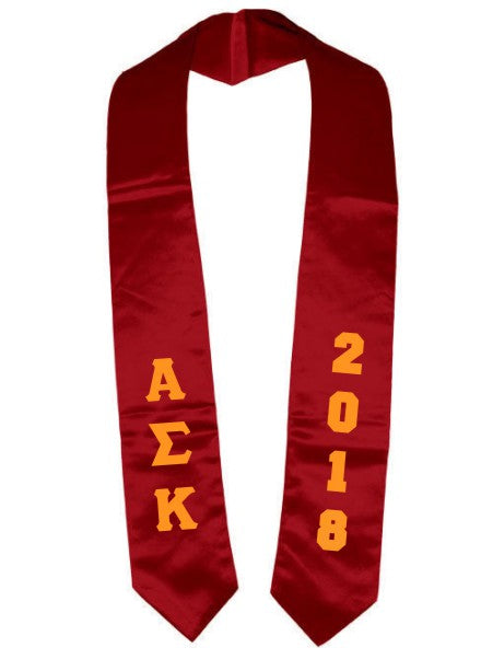 Alpha Sigma Kappa Vertical Grad Stole with Letters & Year