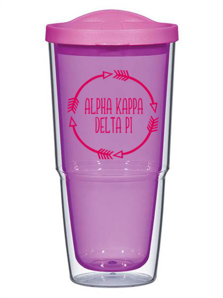 Alpha Kappa Delta Phi Circle Arrows 24 oz Tumbler with Lid