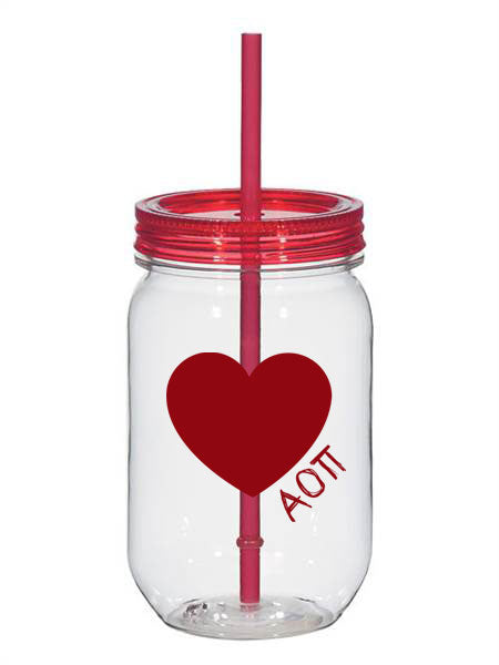 Alpha Omicron Pi 25oz Scribbled Heart Mason Jar