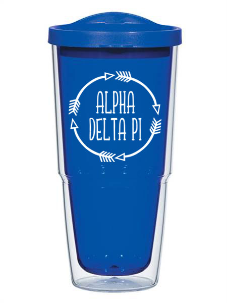 Alpha Delta Pi Circle Arrows 24 oz Tumbler with Lid