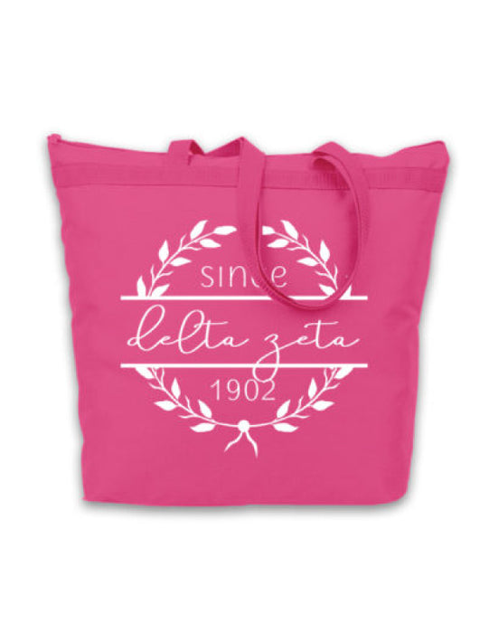 Delta Zeta Since Established Tote