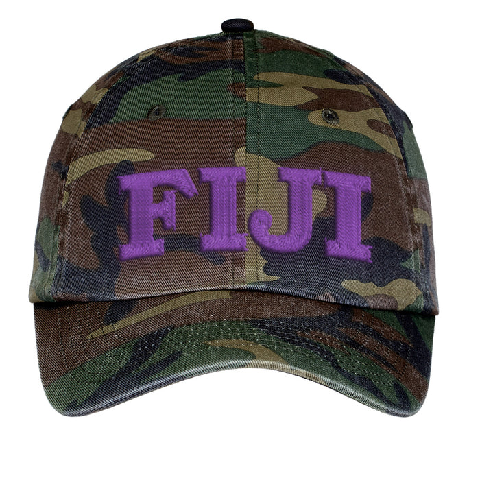 Fiji Letters Embroidered Camouflage Hat