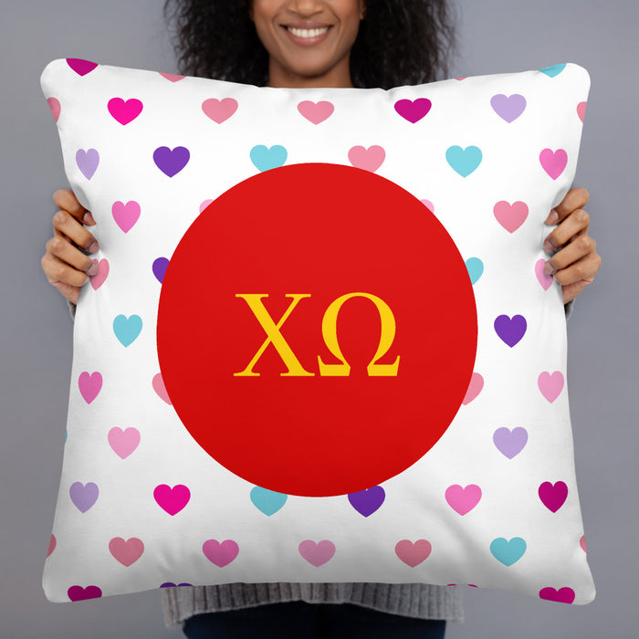 Chi Omega Hearts Basic Pillow Chi Omega Hearts Basic Pillow
