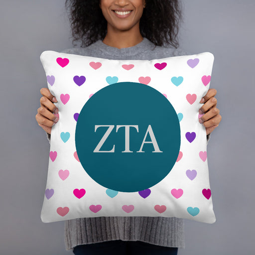 Zeta Tau Alpha Hearts Basic Pillow