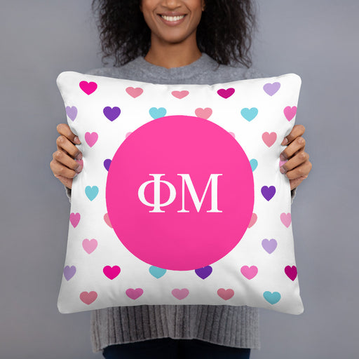 Phi Mu Hearts Pillow