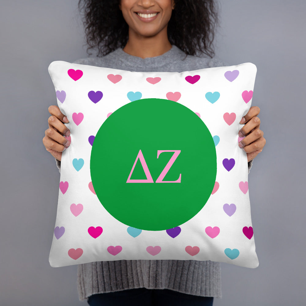 Delta Zeta Hearts Basic Pillow Delta Zeta Hearts Basic Pillow