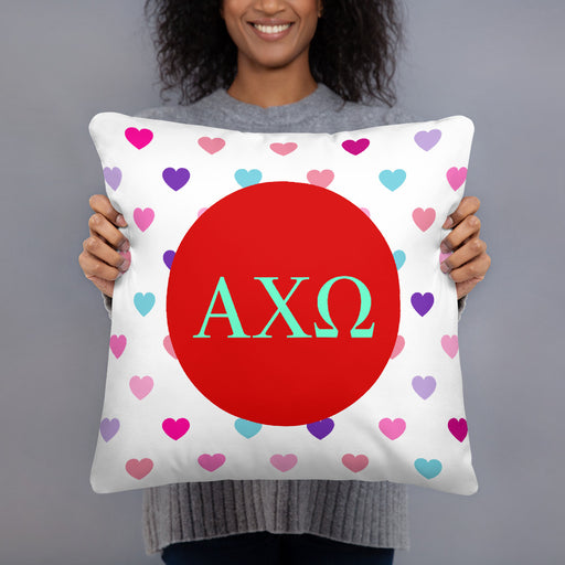 Alpha Chi Omega Hearts Basic Pillow