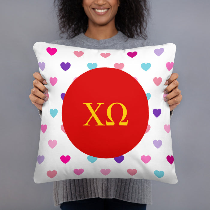 Chi Omega Chi Omega Hearts Basic Pillow
