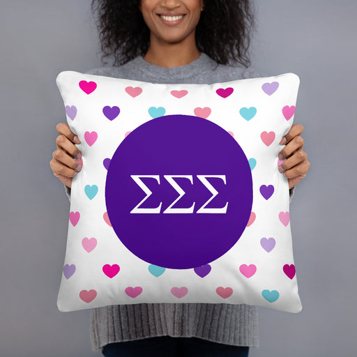 Sigma Sigma Sigma Hearts Basic Pillow
