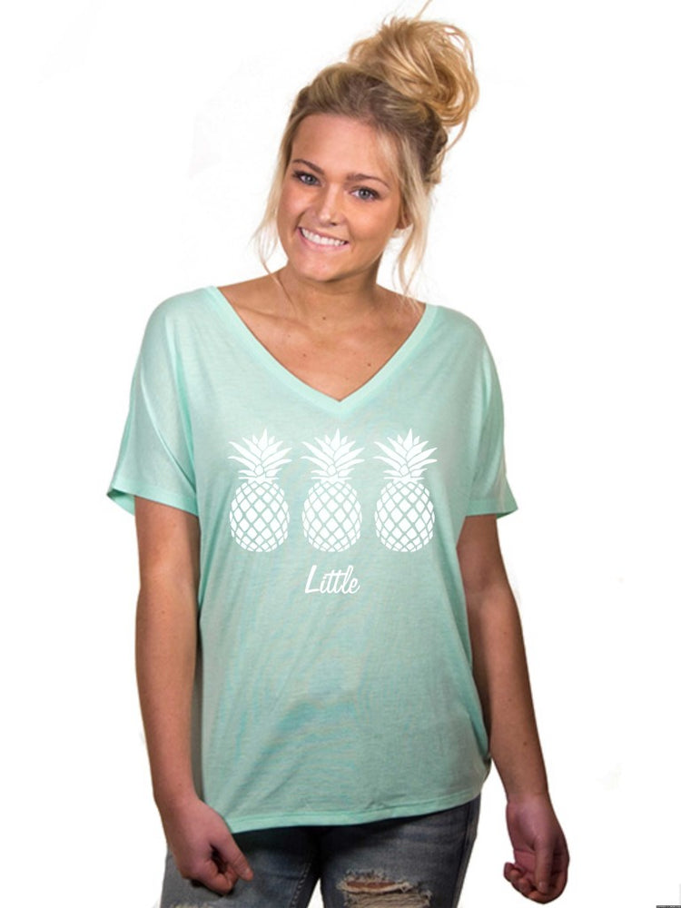 Little Sister Little Pineapple Slouchy V Neck