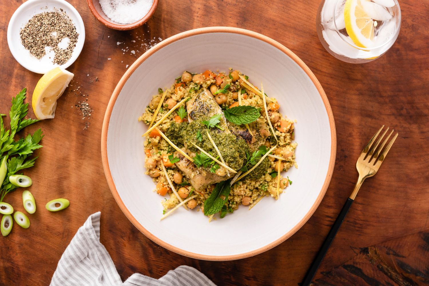 Chermoula Fish with chickpea cous cous